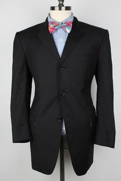 DOLCE GABBANA Black Modest Striped Virgin Wool 42 R mens Sport Coat Blazer #DolceGabbana #ThreeButton