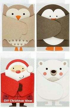 adorable shaped cards: print & pattern: XMAS 2013 - john lewis part 1 . luv the fold over wings, arms . Cute Christmas Cards, Christmas Crafts, Origami Christmas, Christmas Decorations, Christmas Card Ideas With Kids, Christmas Holiday, Christmas Cards Handmade Kids, Homemade Christmas Cards, Christmas Tables