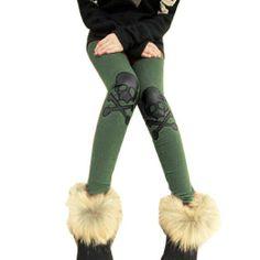Amazon.com: Allegra K Girl Skull Cross Accent Elastic Waist Stretchy Leggings: Clothing