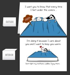 Farting in bed - Greeting Card [SO totally Scott and me...]