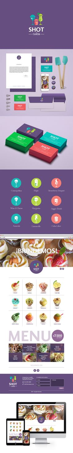 An original concept for a cupcake company: cupcakes that come in alcoholic beverage flavors. The concept itself is nice, but the overall design of the icons, menu and website look great too. I like the use of tertiary color scheme and the organization of the flavor icons. The purple background is a good way of symbolizing the luxury of these alcoholic flavored cupcakes that the company has to offer.