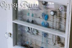 Gypsy Barn - PAST CREATIONS Jewelery display cabinet from an old window, lath, and collection of knobs and pulls