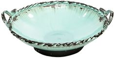 Caffco International Metal Bowl on Base with Handles Diameter Antiqued Mediterranean Blue * To view further for this item, visit the image link. Metal Bowl, House Warming, Decorative Bowls, Image Link, Handle, Base, Amazon, Antiques