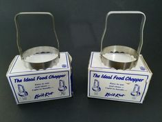 x2-Vintage-Kwik-Kut-Ideal-Food-Chopper-w-Tooth-Edges-amp-Boxes-USA-Made-Lot-of-2
