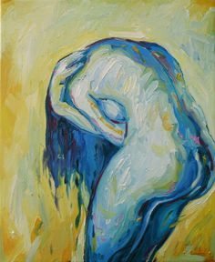 Figure Painting Nude Artwork Woman Female Art Original Oil Painting Abstract Sadness Feminine Art Blue Yellow Texture Pain LonlynessArt. €120.00, via Etsy.