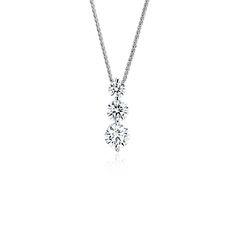 80331c73 Blue Nile Signature Diamond Floating Three-Stone Drop Pendant in Platinum  (1.20 ct.