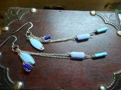 Billabong Rains. Long dangle drop earrings. Opalite, Czech glass, Turquoise & pressed glass Boho Fringe earrings OOak