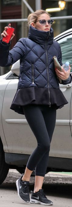 Who made Olivia Palermo's cat sunglasses, red Iphone case, blue ruffle coat, and black sneakers?