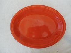Vintage Fiesta Ware Orange Large 12 1/2 Oval Serving Platter