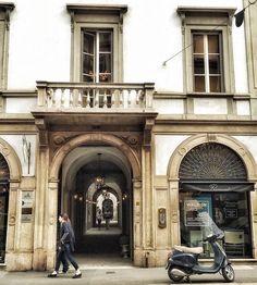 Passing by. #italy #italia #milan #milano #milanocity #milaninsight #milanodaclick #milanodavedere #visitmilano #discovermilan #strideby #soloparking #corsomagenta #architecture #archilovers #vespa #hiddenmilan #igersmilano by stefaniaboleso