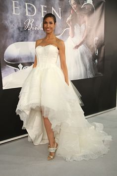 Eden Brida's hi-low wedding dress from their Fall 2014 collection. (Photo: Robert Mitra)