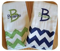 Set of 2 Navy and Green Chevron Personalized Monogrammed Baby Burp Cloth...Perfect for a Baby Boy