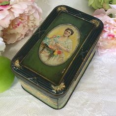 Gorgeous Antique Art Nouveau Tea Tin Litho Box Vintage Tetley Advertising Green Canister pretty lady beautiful woman by WonderCabinetArts