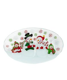 Take a look at this Caroling Snowman Glass Tray by Dennis East International on #zulily today! $14 !!