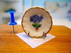Sweet Blue Flowers Dollhouse Miniature by TheQuirkyCurioShoppe, $4.00