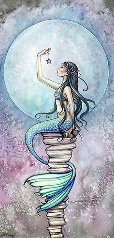 Mermaid Fantasy Watercolor Fine Art Print by Molly Harrison