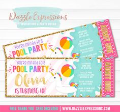 Printable Pink And Gold Glitter Unicorn Ticket Birthday