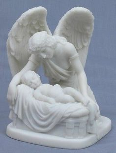 GUARDIAN ANGEL WHISPERING TO BABY.PEACEFUL GUARDING STATUE FIGURINE.PEACE & JOY