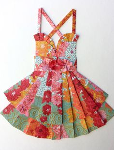 """Floral Hand Folded Paper Dress - Teal, Pink, and Red - 18"""" x 24"""""""