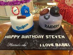Dodgers and raiders birthday cake. Visit us Facebook.com/marissa'scake or www.marissascake.com