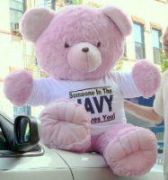 BigPlush Jumbo Teddy Bear Wearing Somebody in the Marines Loves You T-Shirt, 4 Feet Tall - Pink