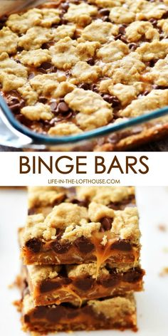 These amazing Binge Bars have an oatmeal cookie crust with chocolate and caramel layers. They are addicting, but in a good way! These amazing Binge Bars have an oatmeal cookie crust with chocolate and caramel layers. They are addicting, but in a good way! Dessert Simple, Quick Dessert, Dessert Healthy, Easy Dessert Bars, Cookie Brownie Bars, Cookie Crust, Chocolate Cookie Bars, Oatmeal Cookie Bars, Chocolate Ganache
