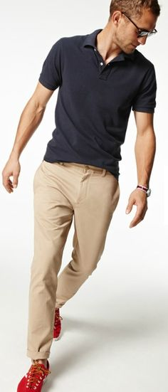Black Polo, Khakis, and New Balance Sneakers, Classic, Men's Spring Summer Fashion.