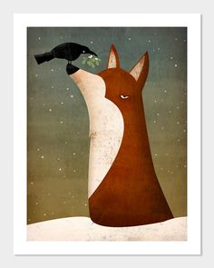 Fox, Crow and Mistletoe winter GRAPHIC ART giclee print 9x12 inches SIGNED by Ryan Fowler.