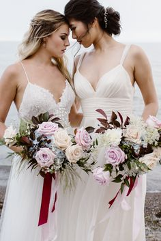 Romantic burgundy and blue lesbian wedding inspiration Lesbian Beach Wedding, Lesbian Wedding Photography, Beach Wedding Hair, Bridal Photography, Wedding Couples, Wedding Photos, Dream Wedding, Cute Lesbian Couples, Muslim Couples