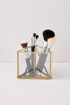 Makeup Brush Storage, Makeup Organization, Makeup Drawer, Storage Organization, Urban Outfitters, Shower Accessories, Makeup Brush Holders, Architecture Tattoo, Jewelry Stand