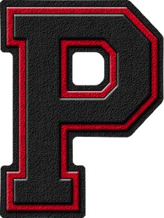 Red Letter P | Presentation Alphabet Set: Black & Cardinal Red Varsity Letter P