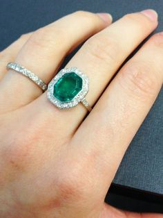 Edwardian emerald and diamond ring-My birthstone and antique setting...perfection!