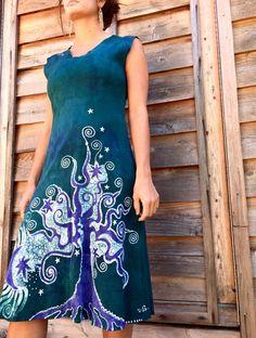 Teal and Purple Tree and the Moon Organic Cotton Batik Dress