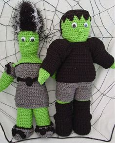 Brighten you Halloween celebration with the whimsical Frankenstein & Bride dolls!! These eerie creatures are crocheted with worsted weight yarn and then stuffed with fiberfill for huggable softness. D
