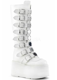 3 Platform Knee High Boot Featuring 8 Buckle Straps w/ Metal Plates at Center, Back Metal Zip Closure Sneakers Mode, Sneakers Fashion, Cute Shoes, Me Too Shoes, Knee High Platform Boots, High Shoes, Platform Shoes, Alternative Shoes, Kawaii Shoes
