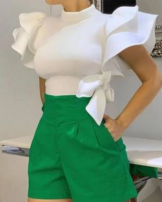 Plain Stand Collar Patchwork Ruffle Sleeve Standard Womens Blouse - Look Fashion Classy Outfits, Chic Outfits, Fashion Outfits, Womens Fashion, Fashion Trends, Fashion 2017, Dress Fashion, Fashion Online, Fashion Ideas