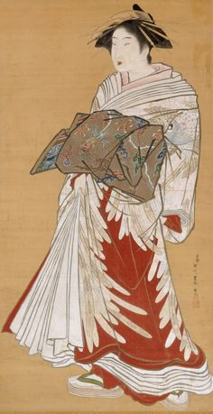 Portrait of a standing courtesan by Utagawa TOYOHARU