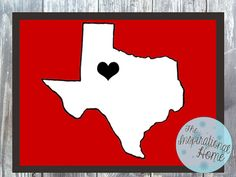 Customizable #Texas with A Heart Print Digital File by TheInspirationalHome, $15.00 #TexasTech #homedecor #walldecor