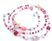 Romantic pink lampwork bird, red, pink, clear seed beads Valentine beaded lanyard, feature Czech fpr glass beads, tiny glass hearts  $22.00