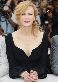 Taking the plunge: Nicole Kidman wore a low-cut LBD to a photo-call at the annual Cannes Film Festival in France on Wednesday Nicole Kidman, Keith Urban, Hollywood Celebrities, Cannes Film Festival, Big Hair, Classic Beauty, Beautiful Actresses, Gorgeous Women, Movie Stars