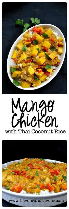 "This Easy Mango Chicken dinner has a perfect balance of sweet and sour, salt and spice. Serve with Thai Coconut Rice. A ""make-ahead"" meal that freezes well. Chicken And Rice Dishes, Chicken Flavors, Chicken Recipes, Mango Salsa, Thai Mango, Asian Recipes, Healthy Recipes, Ethnic Recipes, Healthy Eats"