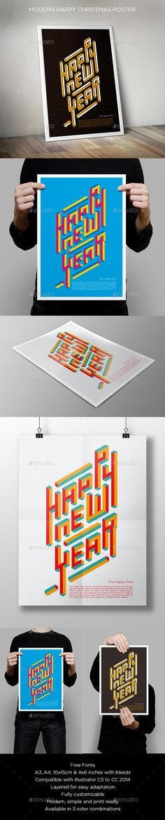 Modern Happy New Year Poster #poster #clean Download : https://graphicriver.net/item/modern-happy-new-year-poster/13501277?ref=pxcr