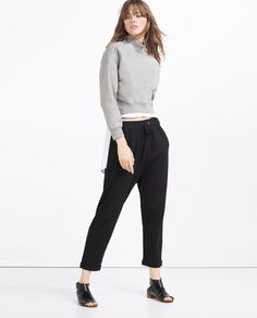 Luxury Zara Baggy Trousers In Black  Lyst
