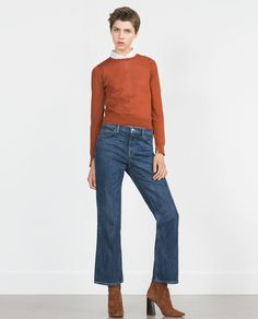 Image 1 of KNIT SWEATER WITH SLEEVE SLITS from Zara