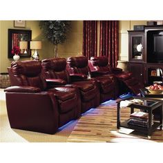 Cinema Power Reclining Theater Seating with Four Seats by Lane - AHFA - Theater Seating Dealer Locator Lane Furniture, Leather Furniture, Living Room Furniture, Modern Furniture, Leather Reclining Sectional, Sectional Sofa With Recliner, Recliners, Reclining Sofa, Home Cinema Seating