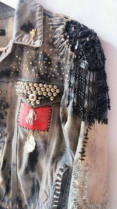 Items similar to BE KIND // Restless Hands // Small S // Bleached, Dyed, Studded, Embroidered, Beaded Denim Battle Jacket with Fringed Epaulettes on Etsy Look Fashion, Diy Fashion, Fashion Outfits, Womens Fashion, Studs And Spikes, Battle Jacket, Mode Abaya, Bleach Dye, Diy Clothing