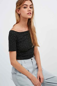 Cooperative by Urban Outfitters Bardot Rib Crop Top