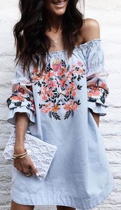 $45 - A Boho Embroidery Tunic in Navy Blue from Pasaboho. This off shoulder tunic dress exhibit unique design with floral embroidered patterns.❤️ boho fashion :: gypsy style :: hippie chic :: boho chic :: outfit ideas :: boho clothing :: free spirit :: fa