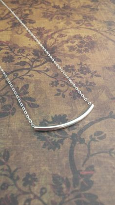 Sterling Silver Curved Bar Necklace / Simple by GracefullyMine, $20.00