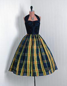 1950's evening dress (plaid taffeta w/ velvet bodice)